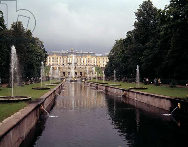 View of the large waterfall of the castle of Peterhof, realized under Peter the Great near Saint Petersburg, Russia