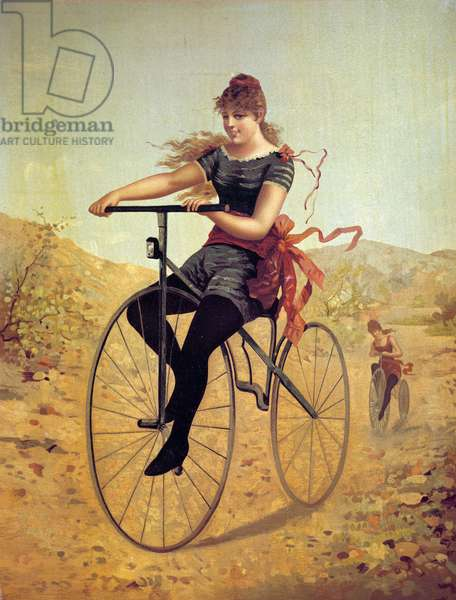 History of the bicycle: velocipedist or a woman pedal on a bike. Prints of the 19th century