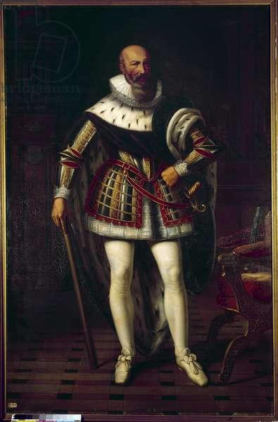 Portrait en pied de Maximilian de Bethune, Marquis de Rosny, Duke of Sully (1559-1641) Painting by Sebastien Louis Norblin de la Gourdaine (1796-1884), 19th century. Sun 2,19x1,43m