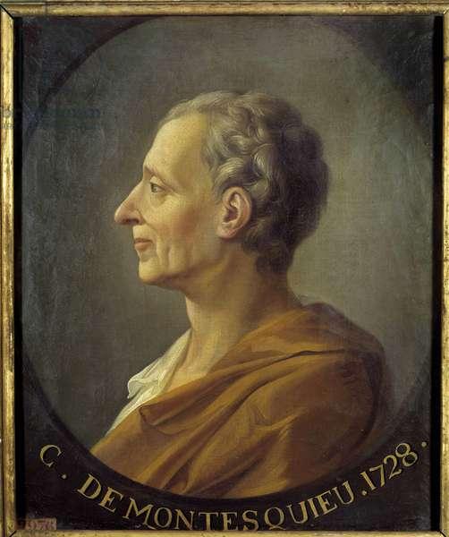 """Portrait of the French philosopher and political thinker Charles de Secondat, Baron de la Brede et de Montesquieu (1689-1755) Portrait of Jacques Antoine Dassier (1715-1759) around 1728. Dim. 0.63 X 0.52 m. Versailles. Musee Du Chateau - Portrait of the French philosopher and political thinker, Charles de Secondat, Baron de la Brede and de Montesquieu (1689-1755) """"Portrait after Jacques Antoine Dassiers (1715-1759), circa 1728. 0.63 X 0.52 m."""