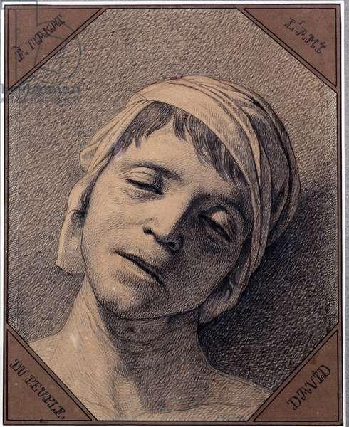 Etude d'apres nature de la head de Jean Paul Marat (1763-1793) assassinated on 13/07/1793 Drawing by Jacques Louis David (1748-1825). Dim 0,27 x 0,21 m Versailles musee du chateau