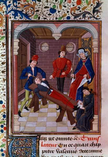 Interrogation and torment. Miniature of the Middle Ages. Paris, Library of the Arsenal