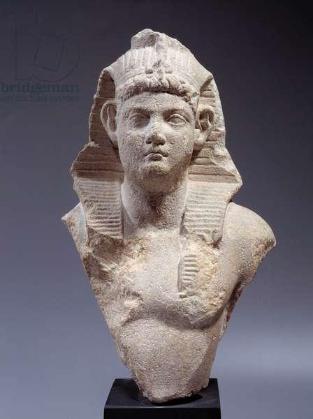 Antiquite Art: Bust of Roman Emperor (Neron?) in Pharaoh. Marble sculpture, 1st century AD, Egypt. Paris, Musee Du Louvre