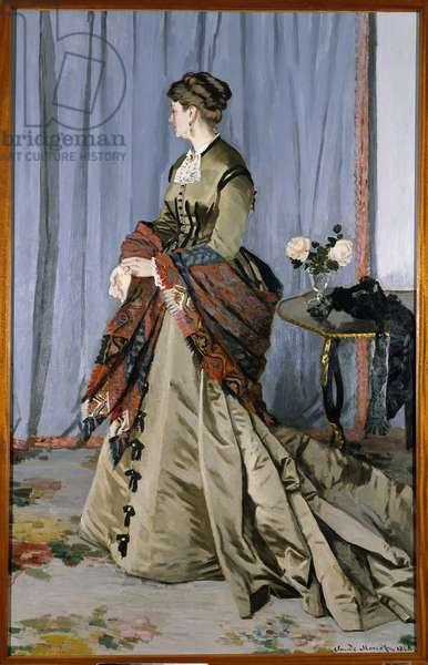 Portrait in foot of Madame Louis Joachim Gaudibert (1846-1877) in 1868 (2.17 x 1.38 cm). Oil On Canvas by Claude Monet (1840-1926). Musee d'Orsay - Full-length portrait of Madame Louis Joachim Gaudibert (1846-1877) in 1868 (2.17 x 1.38 cm). Oil on canvas by Claude Monet (1840-1926). Orsay Museum, Paris