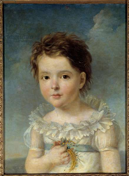 Portrait of Queen Hortense of Beauharnais (1783-1837) child She is the daughter of the Impress Josephine de Beauharnais and the mother of the future Napoleon III. Painting by Francois Gerard (1770-1837) 18th century. Avignon, Calvet Museum