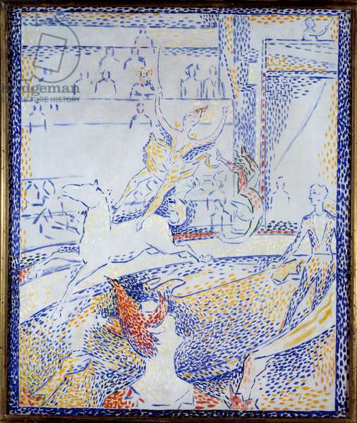 Circus A dancer doing an aerobatic number on horseback and a clown. Sketch by Georges Seurat (1859-1891) 1891 Sun. 0,55x0,46 m Paris, musee d'Orsay