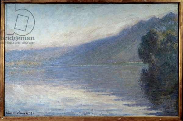 Fog sur la Seine a Port Villiez Painting by Claude Monet (1840-1926) 1894 Sun. 0,66x1,05 m Rouen, musee des Beaux Arts - Mist on the Seine at Port Villiez. Painting by Claude Monet (1840-1926), 1894. 0.66 x 1.05 m. Beaux-Arts Museum, Rouen, France