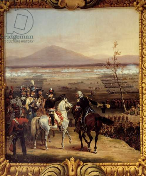 The passage of the Tagliamento in front of Valvasone leads by Bonaparte on 16 March 1797: the Italian countryside of 1796-1797: the passage of the Tagliamento river in which the marechal Jean Mathieu Philibert Serurier (1742-1819) took part in Napoleon Bonaparte on 16/03/1797. Painting by Hippolyte Lecomte (1781-1857) 1834. Dim. 0.76 x 0.67. Versailles, Castles of Versailles and Trianon