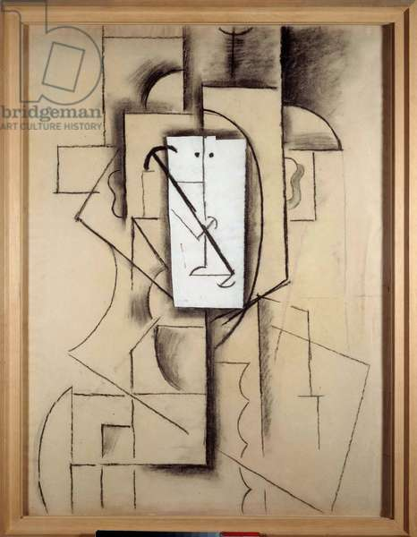 Harlequin head Paper glues, pin and charcoal of Pablo Picasso (1881-1973). 1913. Dim 0.62 x 0.47 m. Paris, Musee Picasso