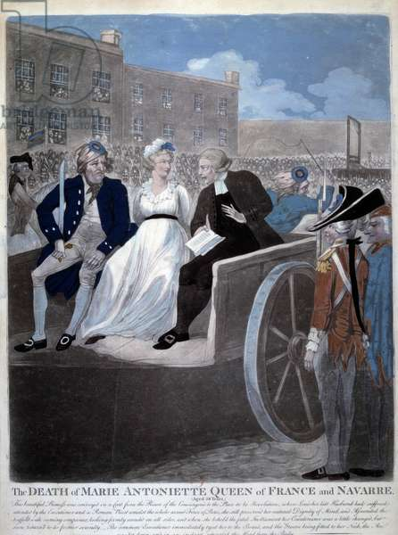 """French Revolution: """""""" the Queen of France Marie Antoinette (1755-1793) is taken to the guillotine. Engraving from 1793. Paris, Library of the Arsenal"""