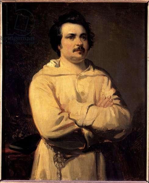 Portrait of Honore de Balzac (1799-1850) Painting by Louis Boulanger (1806-1867) 19th century. Towers. Museum of Fine Arts