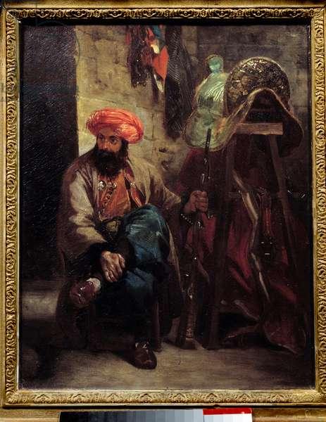 The Turkish saddle Painting by Eugene Delacroix (1798-1863) 1825 Sun. 0,41x0,33 m .