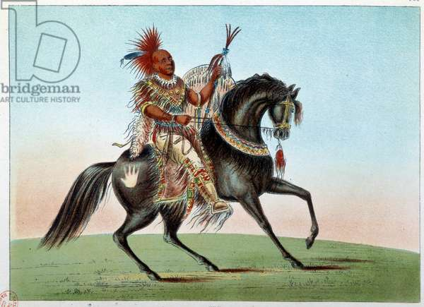 Indians of America: Equestrian portrait of an Indian chief of the tribe of Saxony and Foxes. Illustration by George Catlin (1794-1872), 19th century. Paris, B N