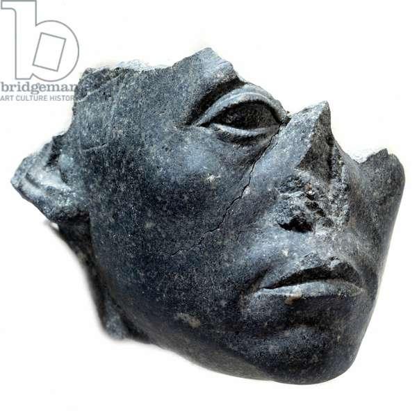 Ancient Egyptian Art: Head of King Sesostris III. Statue fragment. Black granite sculpture, circa 1900 BC (12th dynasty, circa 1963-1786). Paris, Musee Du Louvre