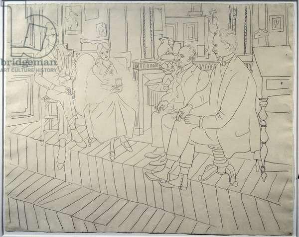 Le Salon de l'artiste, rue de La Boetie: Jean Cocteau, Olga, Erik Satie, Clive Bell. Portrait of writer Jean Cocteau, dancer Olga Kokhlova, composer Erik Satie and English art critic Clive Bell on November 21, 1919. Drawing at the lead mine by Pablo Picasso (1881-1973) 1919 Sun. 0,49x0,61 m Paris, Musee Picasso