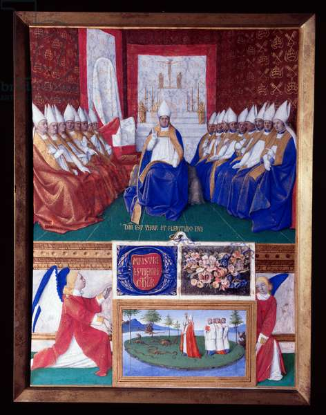 """Saint Hilaire Saint Hilaire (Saint-Hilaire) (401-449) to the Council convened by Pope Leon I around 445-445 Miniature taken from """"The Book of Hours of Etienne Chevalier"""" by Jean Fouquet (1420-1477/1481), 15th century. Chantilly, Conde Museum"""