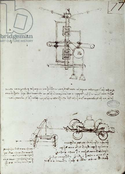 Flying machine drawing. Manuscript by Leonard De Vinci (Leonardo da Vinci, 1452-1519), 16th century. Paris, Library of the Institute