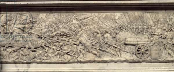 The Battle of Marignan in 1515. Tomb of the Heart of the King of France Francois I (1494-1547): Low relief by Pierre Bontemps (circa 1507-1568), 1555-1556 Saint Denis, Basilica