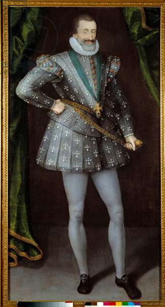Portrait de Henri IV roi de France (1553-1610) peinture anonyme du 17eme siecle. Grenoble,  Musee Des Beaux Arts. --- Portrait of Henry IV, King of France (1553-1610). Anonymous painting of the 17th century. Beaux-Arts Museum, Grenoble, France