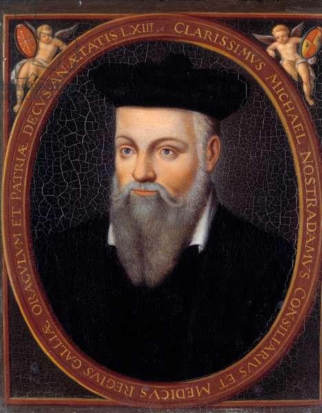 Portrait of Michel de Nostradamus, known as Nostradamus, astrologer (1503-1566)