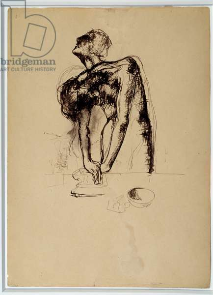 Study for the ironmaker. Drawing by Pablo Picasso (1881-1973), 1904. Feather and brown ink. Dim: 0.37 x 0.26m. Paris, Musee Picasso.