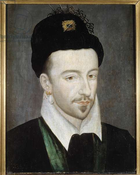 Portrait of the King of France Henri III (1551-1589) Painting attributed to Jean Ducourt (2nd half of the 16th century) Sun. 0,29 x 0,22 m  - Portrait of King Henri III of France (1551-1589). Painting attributed to Jean Ducourt (2nd half of the 16th century). 0.29 x 0.22 m.