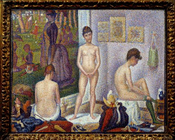"""Set-up, small version On the left, the painting """""""" A Sunday after noon at the island of the Grande Jatte"""""""" painting by Georges Seurat (1859-1891) 1888 Collection privee - The Models together, smaller version. On the left, the picture """"One Sunday afternoon on the Island of La Grande Jatte"""" Painting by Georges Seurat (1859-1891), 1888. Private collection"""