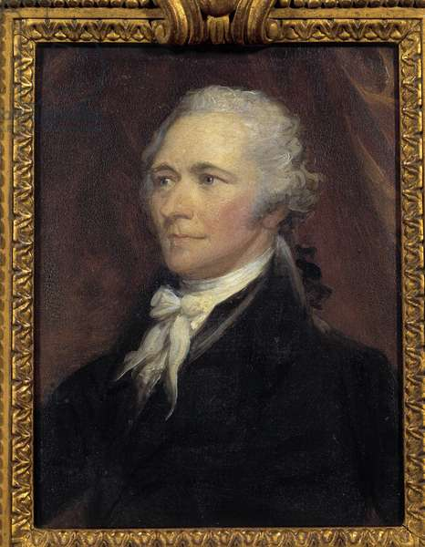 Portrait of Alexander Hamilton (1757-1804) Minister of Finance of the United States Painting by George Healy (1808-1894) 19th century Sun. 0,25x0,2 m  - Portrait of Alexander Hamilton (1757-1804), Secretary of the Treasury of the United States. Painting by George Healy (1808-1894), 19th century. 0.25 x 0.2 m.