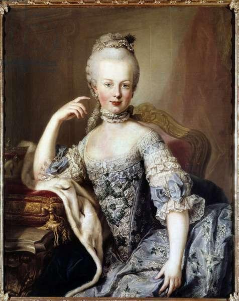 Portrait of Marie Antoinette (1755-1793) Future Queen of France Painting by Martin van Meytens (1695-1770) Around 1767. Vienne, Chateau de Schoenbrun (Schonnbrun)