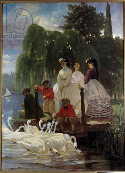 Le repas des swans Painting by Eugene Giraud (1806-1881) 1865 Paris, Decorative Arts - Swans or feeding swans. Painting by Eugene Giraud (1806-1881) 1865. Arts Decoratifs Museum, Paris