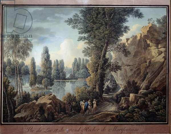 Le grand rock et le lac du parc de Mortefontaine Watercolour by Charles Hippolyte Cassas (1800-1846) 19th century Paris, Musee Marmottan