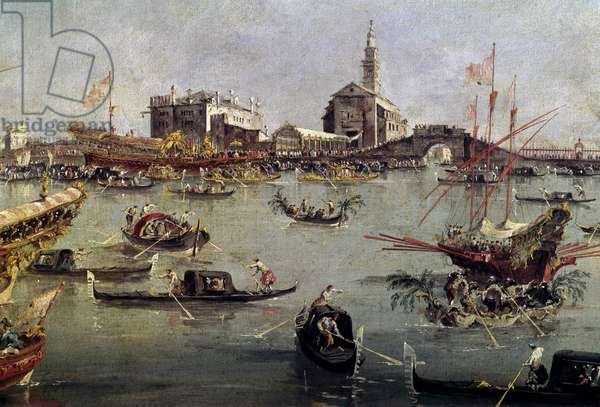 The doge on the Bucentaurus (Bucentoro) in San Nicolo from Lido to Venice, Ascension Day Painting by Francesco Guardi (1712-1793) 18th century Paris, Louvre Museum.