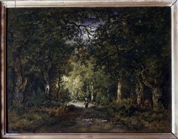 The road under wood Painting by Narcisse Diaz de la Pena (1807-1876) 19th century Sun. 0,24x0,32 m