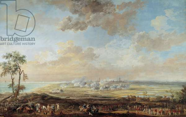 """War of the Succession of Austria (1741-1748): """""""" Siege of Ostend by Lieutenant General Earl of Lowendal from 13 to 23 August 1745"""""""" Gouache by Louis Nicolas Van Blarenberghe (1716-1794) 1783 Sun. 0,59x0,94 m Versailles, museum of the castle"""