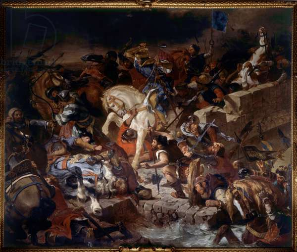 View of the Battle of Taillebourg won by King Saint Louis on 21 July 1242.Battle between the Capetian troops of the King of France Saint Louis and those of their vassals revolts, Henry III of England and Hugh X of Lusignan. Painting by Eugene Delacroix (1798-1863) 1837 Sun. 4,89x5,54 m Versailles musee du chateau
