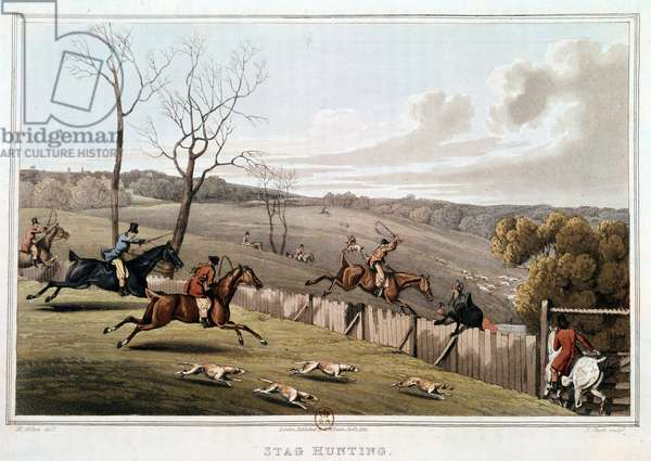 Hunting in England. 19th century lithography. Paris, B.N.