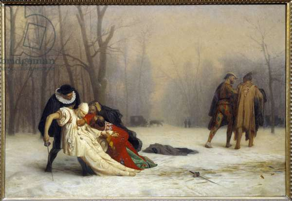 Duel after a ball mask Painting by Jean Leon Gerome (1824-1904), 1857. Sun 0,5x0,72 m Chantilly, musee Conde