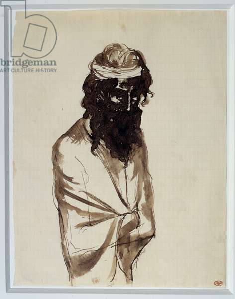 Bearded man with arms crossed. Drawing by Pablo Picasso (1881-1973), 1903. Black ink on paper. Dim: 0.27 x 0.29m. Paris, Musee Picasso.
