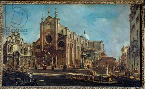 Campo of the church Giovanni and Paolo with the Scuola di San Marco in Venice around 1766-1770. Painting by Francesco Guardi (1712-1793), 1763. oil on canvas. Dim: 0,73x1,21m.