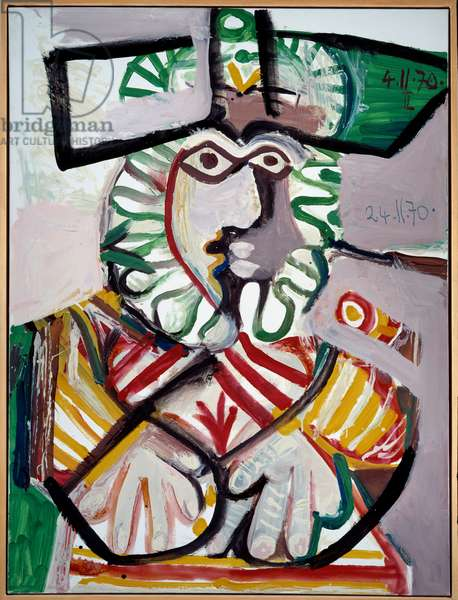 Bust of man with hat Painting by Pablo Picasso (1881-1973) (ec.esp.) 1970 Dim. 1,3x0,97 m Rennes, Musee des Beaux Arts