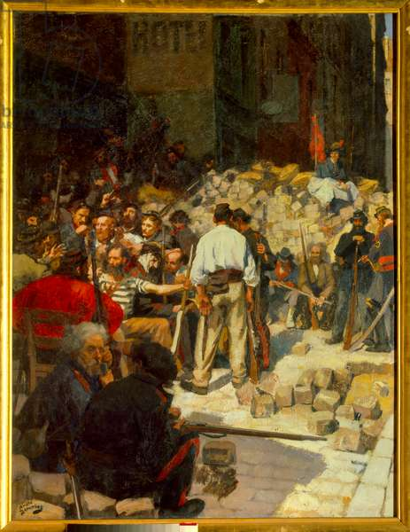 The Barricade or the Waiting in May 1871 (oil on canvas, 19th century)