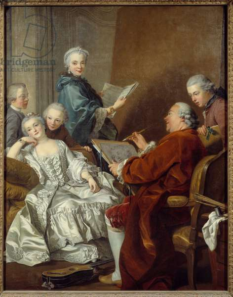 The painter Carle van Loo and his family Painting by Louis Michel van Loo (1707-1771) 18th century Sun. 2x1,56 m Versailles, musee du chateau