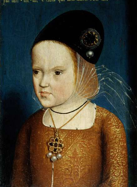 Portrait of Margarita of Austria (1480-1532) daughter of Emperor Maximilian, aged 3 years and 3 months in April 1483 later wife of the Infant Dom Juan, prince of the Astruries then Philibert the Beautiful, Duke of Savoy and governess of the Netherlands. Anonymous painting of the Flemish School, 1483. Oil on wood. Dim: 0,20 x 0,29m. Versailles, Musee Du Chateau