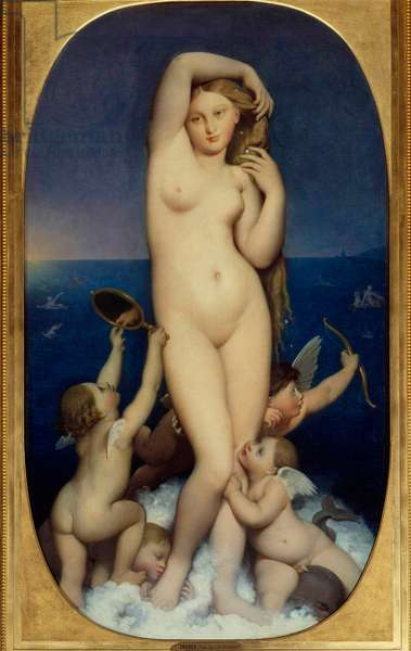 Venus Anadyomene Painting by Jean Auguste Dominique Ingres (1780-1867) 19th century Sun. 1,6x0,9 m Chantilly, musee Conde - Venus Anadyomene. Painting by Jean Auguste Dominique Ingres (1780-1867), 19th century. 1.6 x 0.9 m. Conde Museum, Chantilly, France