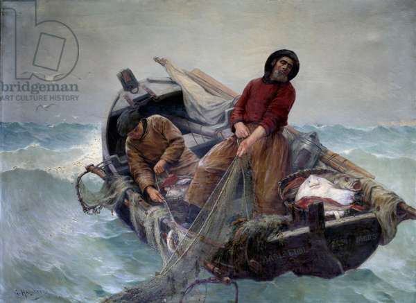 Fishing in the open sea. Painting by Georges Haquette (1854-1906), 1901. Rouen, Musee Des Beaux Arts - Fishing at sea: Fishermen hauling in their net at sea. Painting by Georges Haquette (1854-1906), 1901. Beaux-Arts Museum, Rouen, France