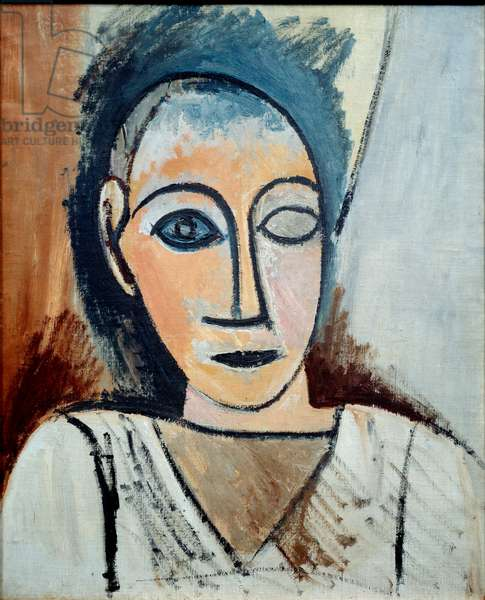 Man's bust. Study for the ladies of Avignon. oil on canvas. Dim: 0.56 x 0.46m. Painting by Pablo Picasso (1881-1973), 1907. Paris, Musee Picasso.