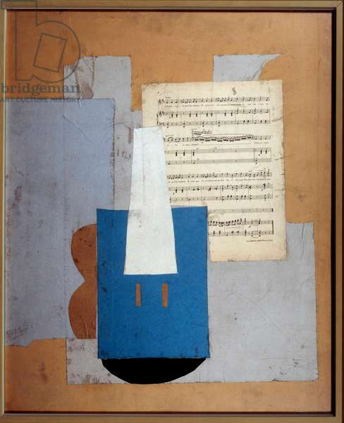 Violin and sheet music Collage of paper and sheet music on cardboard by Pablo Picasso (1881-1973) 1912 Dim. 0,78x0,63 m Paris, musee Picasso