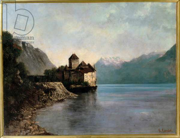 A castle on the shores of Leman Lake in Switzerland View of Chillon Castle. Painting by Gustave Courbet (1819-1877) 19th century Ornans, birthplace of Gustave Courbet - The Castle of Chillon. Evening. A castle by the lake Leman in Switzerland. Painting by Gustave Courbet (1819-1877) 19th century. Ornans, birthplace House of Gustave Courbet, Doubs, France