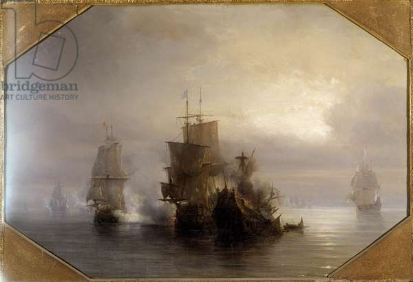 Naval combat of the knight Marc-Antoine de Saint-Pol Hecourt (1665-31 October 1705), 31/10/1705 He gave his name to the nearby town of Saint-Pol-sur-Mer (Saint Paul sur mer). Painting by Theodore Gudin (1802-1880) 19th century. Paris, Musee de la Marine