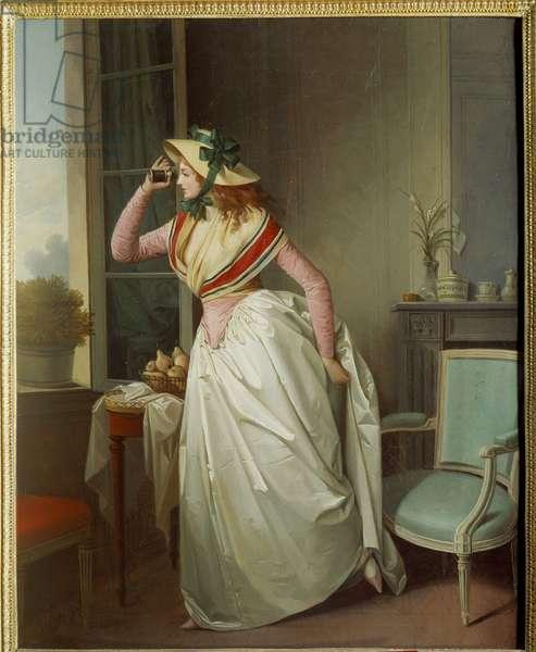 Woman in the eye Painting by Henri Nicolas van Gorp (1756-1819) 19th century Sun. 0,4x0,32 m Rouen, musee des Beaux Arts